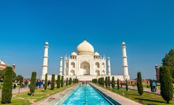The Taj Mahal, a UNESCO world heritage site and the most famous monument in India. Agra city in Uttar Pradesh State