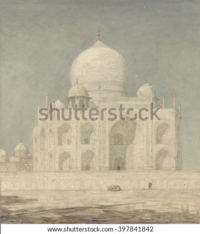 The Taj Mahal, by Marius Bauer, 1898 , Dutch painting, Watercolor on paper