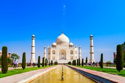 The Taj Mahal is a white marble mausoleum located in the Indian city of Agra. It is one of Seven Wonders of the World.