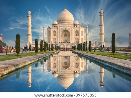 The Taj Mahal is an ivory-white marble mausoleum on the south bank of the Yamuna river in the Indian city of Agra, Uttar Pradesh. #397575853