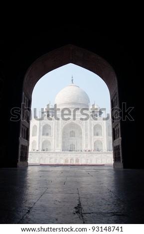 The Taj Mahal seen through a door in the east gate