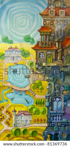 The tall whimsical building with a many architectural elements is situated in a foreground, and the sunny valley with the lakes and the stream is in a background. Artwork by Alex Tsuper. Oil on canvas
