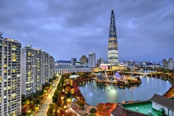 The tallest building in Seoul, South Korea at the blue hour.