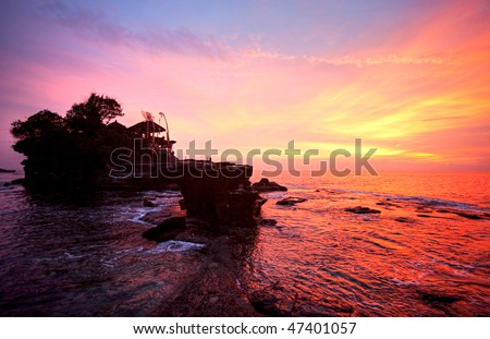 The Tanah Lot Temple the most important indu temple of Bali Indonesia