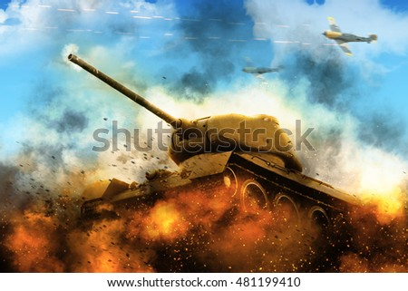 Stock Photo The tank in the blazing fire