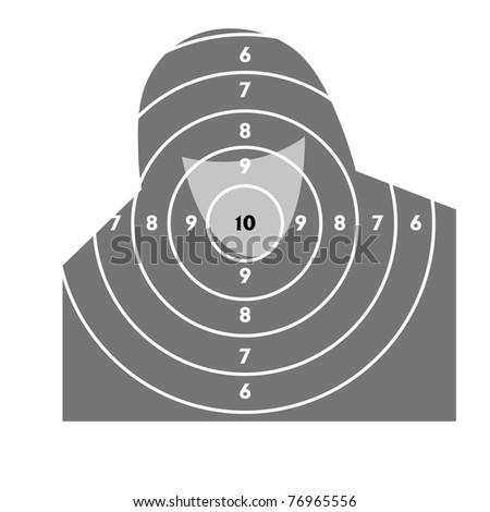 The target for shooting practice at a shooting range with a pistol