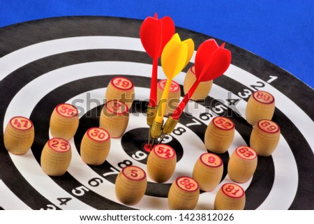 The target of the sport of Darts and bingo chips. Darts game in which players rivals throw Darts at a round target to hit the target. Lotto - gambling, a chance to win. #1423812026