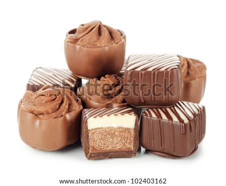 The tasty sweets from a milk chocolate