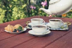 The tea party in the garden.