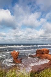 The Teacup rock, named for the resemblence to a cup and saucer, in Thunder Cove beach, Prince Edward Island, Canada