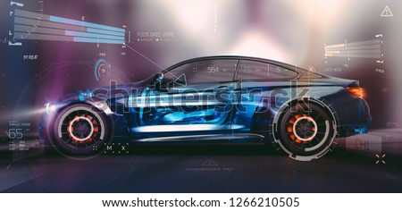 The technology behind modern cars - futuristic concept, with car sensors (hybrid wire frame side intersection) - 3d illustration