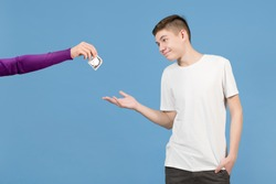 the teenager happily agrees to protected contact. The girl holds out a condom to him and he takes it with a smile