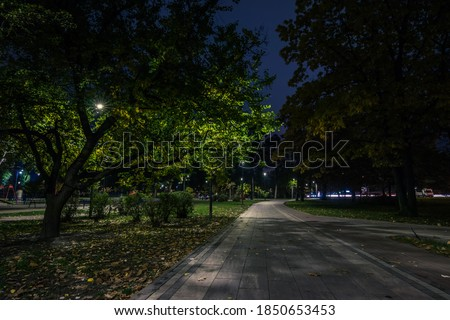 The teiled road in the night park with lanterns in autumn. Benches in the park during the autumn season at night. Illumination of a park road with lanterns at night. Park Kyoto Foto stock ©