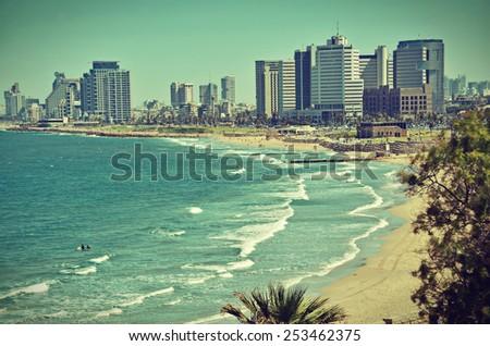 the tel aviv  israel sky line...