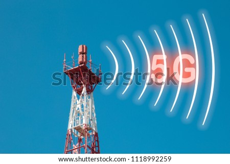 The telecommunication tower is isolated on a blue background. The signal transmission signal is 5g. #1118992259