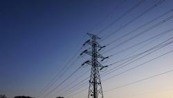 The telegraph pole at sunset. nightfall