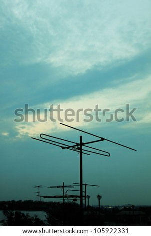 The television antenna against the night sky