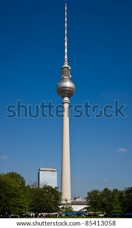 The television tower of Berlin represents the tallest building in Germany with a height of 368m and is one of  Berlins landmarks.