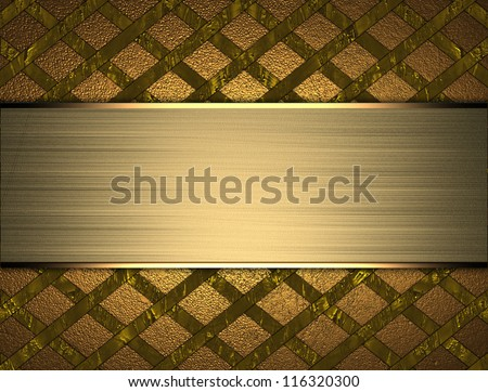 The template for the inscription. Abstract gold Background in a grid with abstract gold nameplate.