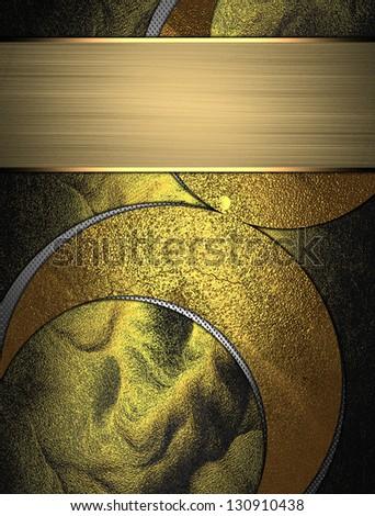 The template for the inscription. Abstract gold background with gold pattern and plate