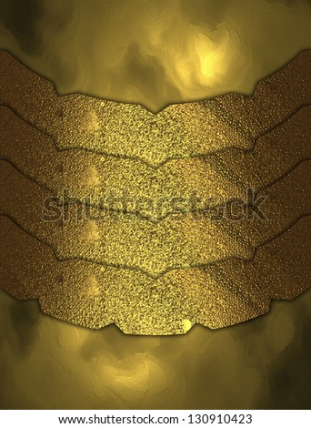 The template for the inscription. Abstract Gold background with gold plates