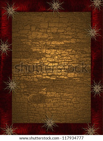The template for the inscription. Abstract gold background with red frame and gold star.