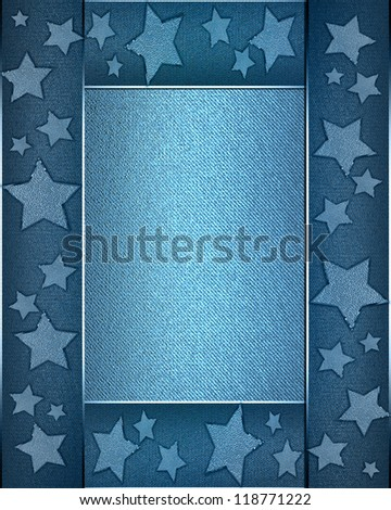 The template for the inscription. Beautiful blue background with a blue ribbon on the edges decorated with stars. Template greeting card