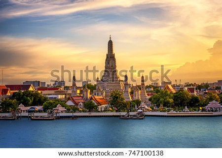 The Temple Chao Phraya Riverside, The famous Wat Arun, perhaps better known as the Temple of the Dawn, is one of the best known landmarks and one of the most published images of Bangkok #747100138