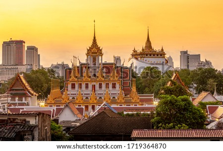 The temple is best known for the Loha Prasat , a multi-tiered structure 36 m high and having 37 metal spires, signifying the 37 virtues toward enlightenment. It is the third Loha Prasada  Photo stock ©