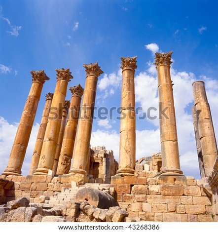 The Temple of Artemis is a Roman Temple in Jerash, Jordan, It was built around the middle of the 2nd century A.D. during the reign of Antoninus Pius.