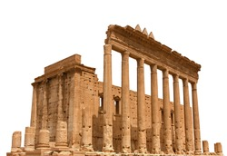 The Temple of Bel (or Baal) isolated on white background. It was an ancient temple located in Palmyra, Syria