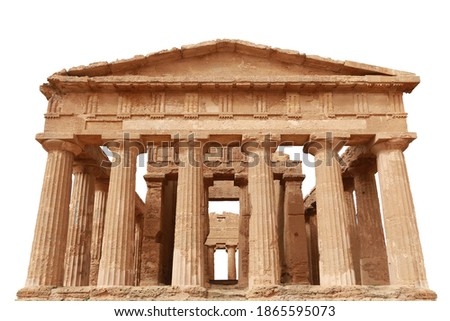 The Temple of Concordia (Italian: Tempio della Concordia) isolated on white background. It is an ancient Greek temple in the Valle dei Templi (Valley of the Temples) in Agrigento