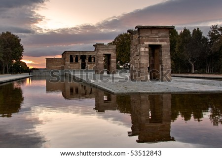 The Temple of Debod is an ancient Egyptian temple which was rebuilt in Madrid, Spain