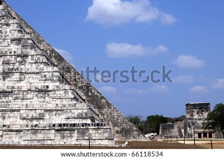 "The Temple of Kukulcan , also known as ""El Castillo"" (the castle) is a step pyramid that dominates the center of Chichen Itza, a pre-hispanic Mayan city in Yucatan, Mexico."