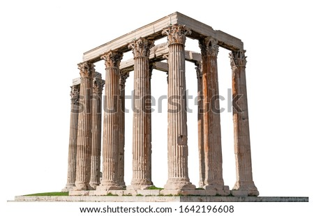 The Temple of Olympian Zeus, also known as the Olympieion or Columns of the Olympian Zeus, isolated on white background. It is a temple at the center of the Greek capital Athens.