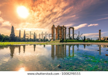 The Temple of Olympian Zeus (Greek: Naos tou Olimpiou Dios), also known as the Olympieion, Athens, Greece.