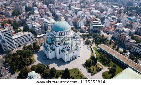 The Temple of Saint Sava in Belgrad from the Sky. The largest church in Southeastern Europe it is one of the largest Orthodox churches in the world Stok fotoğraf ©