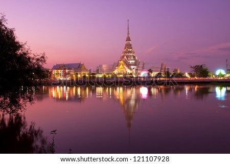 The Temple of So-thorn, in Thailand, in the evening with the reflection of river