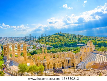 The temple of the Ancient theater of Herodes under Acropolis of Athens Greece