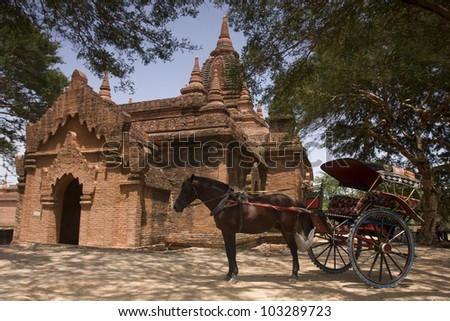 The temples and the horse carriage in Bagan, Myanmar