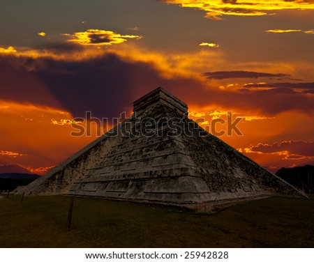 The temples of chichen itza temple in Mexico, one of the new 7 wonders of the world