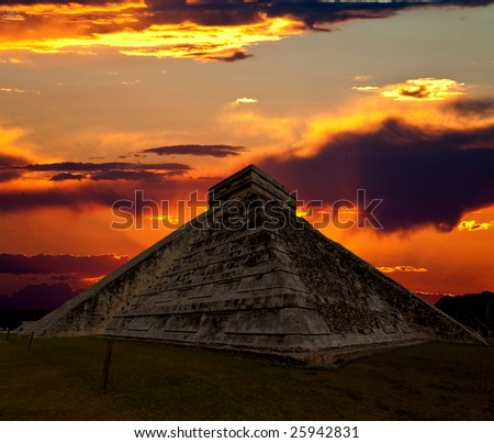 The temples of chichen itza temple in Mexico, one of the new 7 wonders of the world - stock photo
