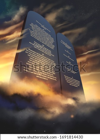 The Ten Commandments glowing on stone tablets in English language, 3d rendering illustration Stock photo ©