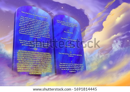 The Ten Commandments of the Christian religion with glowing text, clouds background, prophetic illustration 3d rendering Stock photo ©