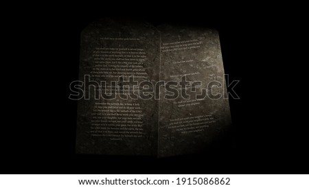 The Ten Commandments on tablets of stone, 3d rendering religious illustration. Law or Decalogue. Сток-фото ©