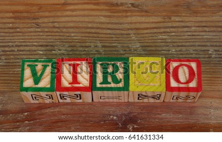 The term virgo visually displayed using colorful wooden blocks