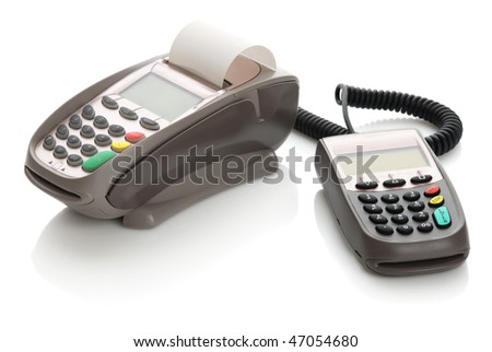 The terminal and pinpad on a white background
