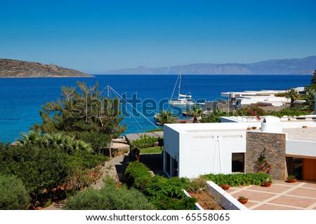 The terrace of Greek luxury hotel, Crete, Greece
