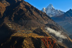 The terraced village of Phorste and Ama Dablam (6.812m) from the Everest Base Camp - Gokyo Valley Trek, Sagarmatha National Park, Solukhumbu, Nepal
