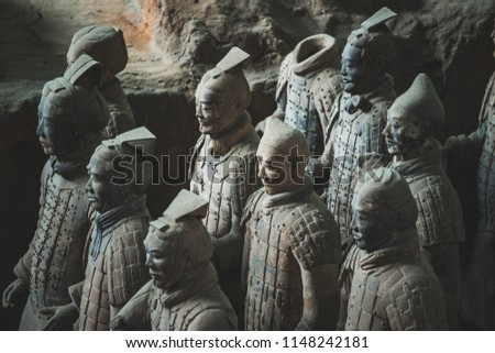 The terracotta warriors at the Mausoleum of the First Qin Emperor in Xi'an, Shaanxi Province, China.